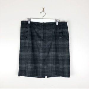 GAP Gray Plaid Stretch Pencil Skirt Career